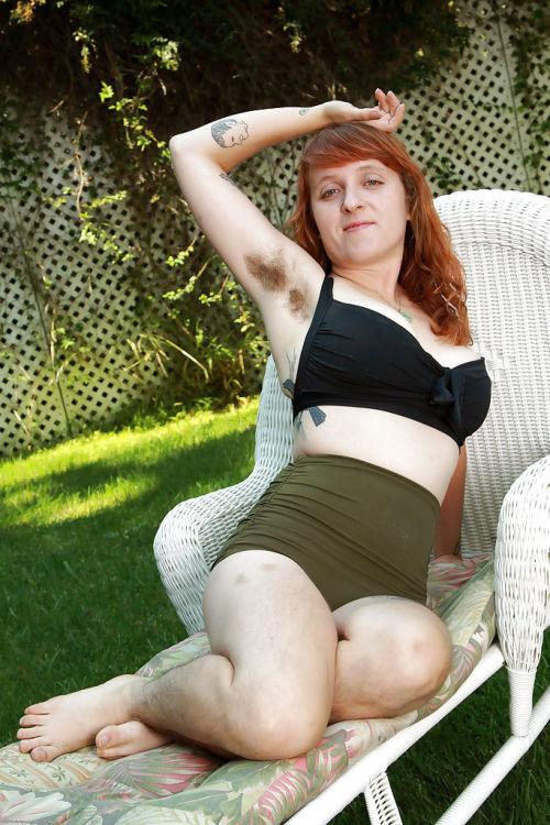Hairy legs- ultra hairy pussy and hairy armpits by busty redhead Velma
