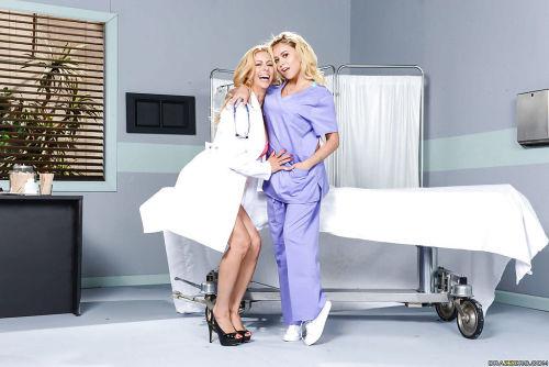 Older blond uniformed nurse seduces teen girl for dyke sex in hospital room