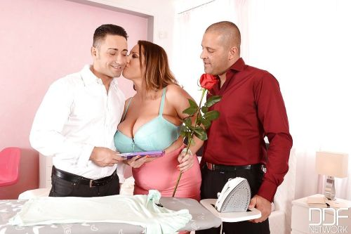Mature Euro fatty Laura Orsolya rocking massive juggs during MMF threesome