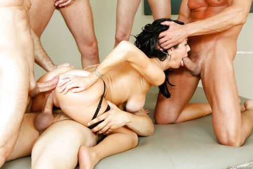 Pornstar Veronica Avluv face fucked and anal drilled during gangbang