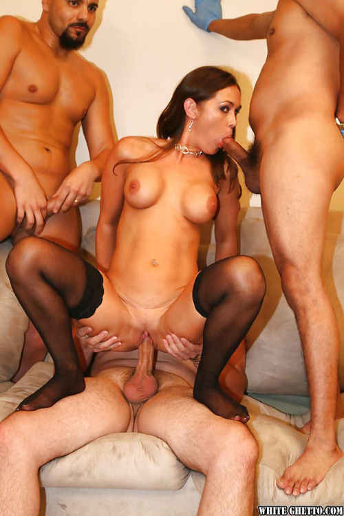 Mature slut with big tits Anita Lay enjoys gangbang in stockings - part 2