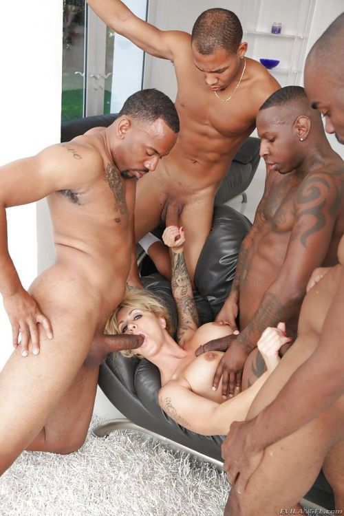 Mature blonde lady Ryan Conner undergoes interracial gangbang and blowbang - part 2